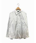 BALENCIAGA(バレンシアガ)の古着「ポケット刺繍ストライプオーバーシャツ」|ホワイト×ブルー