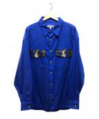 LANDLORD(ランドロード)の古着「レザーフラップロングシャツ」 ブルー