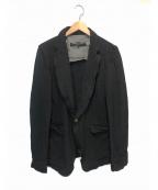 COMME des GARCONS HommePlus(コムデギャルソン オムプリュス)の古着「ポリエステル縮絨製品染め1Bジャケット」|ブラック