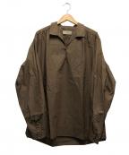 MAISON FLANEUR(メゾン フラネウール)の古着「ブロードオーバーサイズスキッパーシャツ」 ベージュ