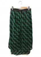 AKIRA NAKA(アキラナカ)の古着「フィッシュテールレザー切替スカート」|グリーン