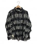 SEVESKIG(セヴシグ)の古着「ジャガードチェックシャツ」|グレー