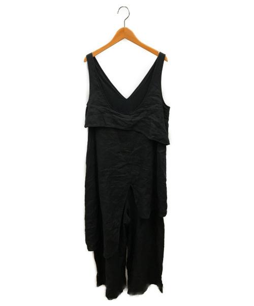 nagonstans(ナゴンスタンス)nagonstans (ナゴンスタンス) リネンオールインワン ブラック サイズ:36の古着・服飾アイテム