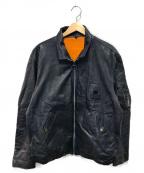 VINTAGE(ヴィンテージ/ビンテージ)の古着「ヴィンテージレザーライダースジャケット」|ネイビー