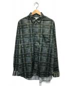 ()の古着「転写チェックシャツ」|グリーン