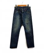 MINEDENIM(マインデニム)の古着「ストレート5ポケットデニムパンツ」|インディゴ