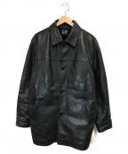OLD GAP(オールドギャップ)の古着「ヴィンテージカウレザーコート」|ブラック