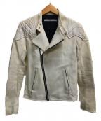 JOHN LAWRENCE SULLIVAN()の古着「ホースハイドダブルライダースジャケット」|ホワイト