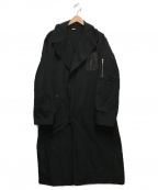 Random Identities(ランダムアイデンティティーズ)の古着「サテンシングルブレストオーバーコート」|ブラック