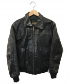 DELUXE(デラックス)の古着「ヴィンテージジップアップレザージャケット」|ブラック
