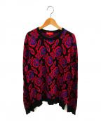 SUPREME()の古着「ローズセーター」 ブラック×レッド