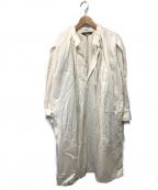 HAVERSACK(ハバーサック)の古着「コットンサテンプルオーバーロングシャツ」 アイボリー