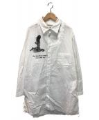 ()の古着「左胸あきプリントシャツ」 ホワイト
