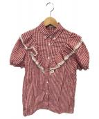 ()の古着「ギンガムチェックフリルS/Sシャツ」 レッド
