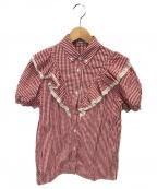 MIU MIU()の古着「ギンガムチェックフリルS/Sシャツ」|レッド