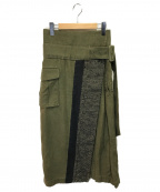 Mame Kurogouchi(マメ クロゴウチ)の古着「リネンコットンウエストベルトスカート」|グリーン