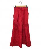 Mame Kurogouchi(マメ クロゴウチ)の古着「フローラルカットワークレースワイドパンツ」 レッド