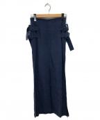 Mame Kurogouchi(マメ クロゴウチ)の古着「リネンマキシスカート」|ネイビー
