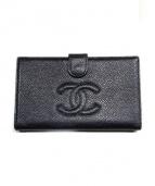 CHANEL(シャネル)の古着「キャビアスキン長財布」|ブラック