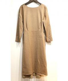 Demi-Luxe BEAMS(デミルクス ビームス)の古着「ウール サテン ベルト付ワンピース」|ブラウン