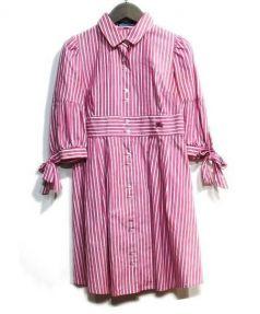 BURBERRY BLUE LABEL(バーバリー・ブルーレーベル)の古着「シャツワンピース」|ホワイト×ピンク
