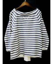 ERIKA CAVALLINI semi-couture(エリカ カヴァリーニセミクチュール)の古着「プルオーバーブラウス」|ネイビー×ホワイト