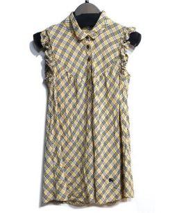 BURBERRY BLUE LABEL(バーバリーブルーレーベル)の古着「ノースリーブチェックシャツ」|ベージュ