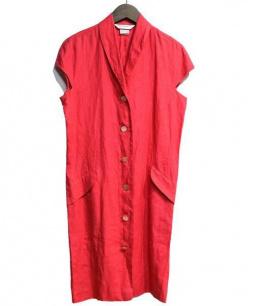 MaxMara(マックスマラ)の古着「リネンワンピース」|ショッキングピンク