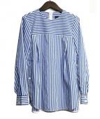 BEATING HEART(ビーティングハート)の古着「リボンベルト付 クルーネック ブラウス」 ブルー×ホワイト
