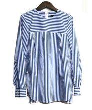 BEATING HEART(ビーティングハート)の古着「リボンベルト付 クルーネック ブラウス」|ブルー×ホワイト