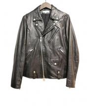 BEAUTY&YOUTH(ビューティアンドユース)の古着「ウォッシュ シープ ダブルライダース」|ブラック