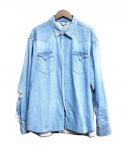 UNUSED(アンユーズド)の古着「クラッシュデニムウエスタンシャツ」|スカイブルー