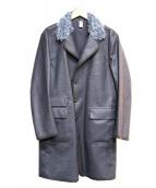 HANCOCK(ハンコック)の古着「襟モヘア混ゴム引きステンカラーコート」|ネイビー