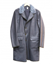 HANCOCK(ハンコック)の古着「襟モヘア混ゴム引きステンカラーコート」 ネイビー