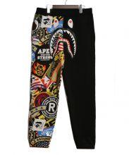 A BATHING APE(ア ベイシング エイプ)の古着「PATCHEDSHARK SWEAT PANTS」|ブラック