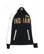 INDIAN MOTORCYCLE(インディアンモーターサイクル)の古着「レザー切替スタジャン」|ブラック