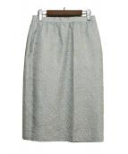 GIVENCHY(ジバンシー)の古着「刺繍シルク混ペンシルスカート」 ベージュ×スカイブルー