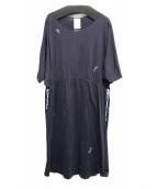 mina perhonen(ミナペルフォネン)の古着「カットソーワンピース」|ネイビー