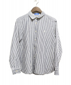 BLUE LABEL CRESTBRIDGE(ブルーレーベル・クレストブリッジ)の古着「ストライプリネン混シャツ」|ネイビー×ホワイト