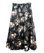 SNIDEL(スナイデル)の古着「フラワープリントアシメミモレスカート」|ブラック