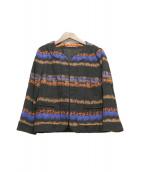Comptoir des Cotonniers(コントワー デ コトニエ)の古着「ノーカラージャケット」|オレンジ×ブラック