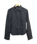 CHROME HEARTS(クロムハーツ)の古着「フローラルクロスボタンチェックシャツ」|グレー×ブラック