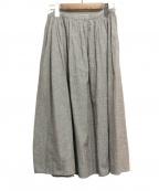 休日と詩(キュウジツトウタ)の古着「リネン混スカート」|ホワイト×ブラック