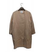 Spick and Span(スピックアンドスパン)の古着「モヘアシャギークルーネックコート」|ベージュ