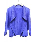 PLEATS PLEASE(プリーツプリーズ)の古着「プリーツカーディガン」|ブルー