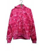 A BATHING APE(エイプ)の古着「サルカモジップパーカ」|ピンク