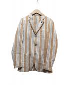 LARDINI(ラルディーニ)の古着「リネン混3つボタンジャケット」 ブラウン×スカイブルー