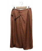 martinique(マルティニーク)の古着「リネンライクドレープリボンスカート」|ブラウン
