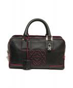 LOEWE(ロエベ)の古着「レザーハンドバッグ」|ブラック×ピンク