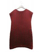 ISSEY MIYAKE(イッセイミヤケ)の古着「ノースリーブワンピース」|レッド